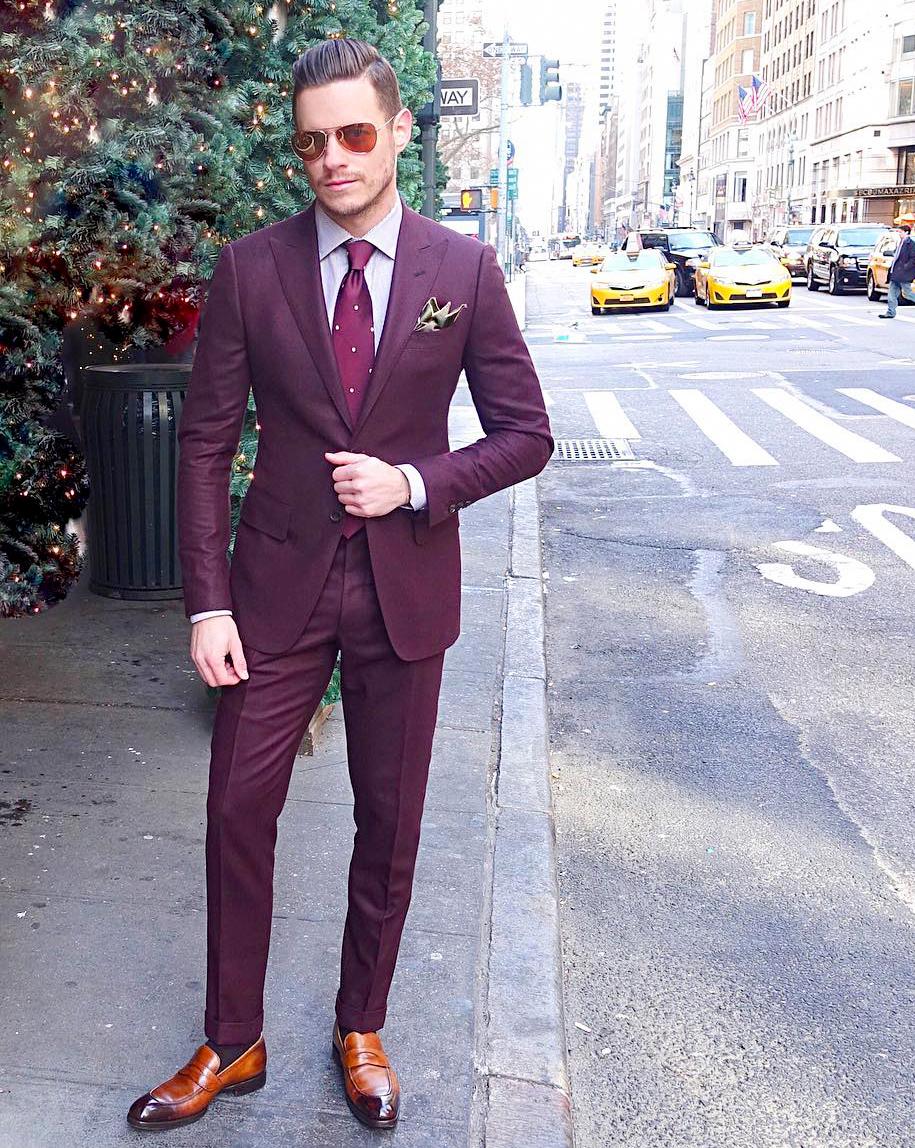 Burgundy suit & pink shirt color combination