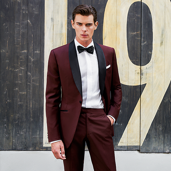 burgundy tuxedo worn on a black-tie event