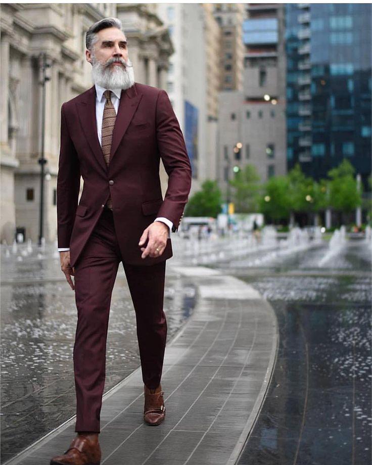 Burgundy suit & white shirt color combination
