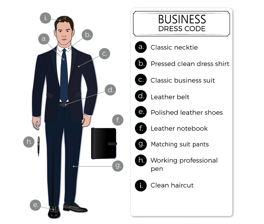 business formal dress code attire for men