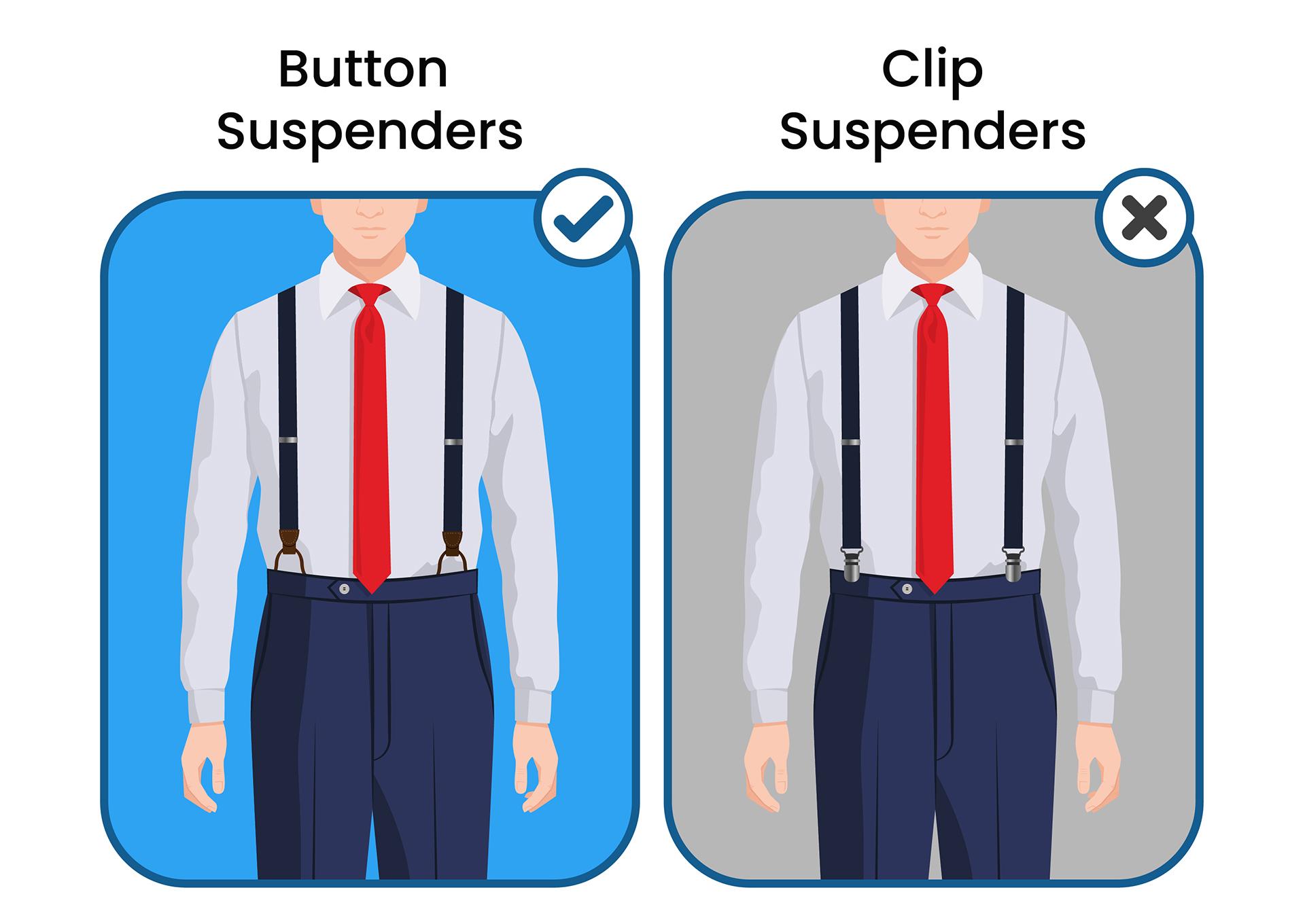 Button suspenders vs. clip-on suspenders