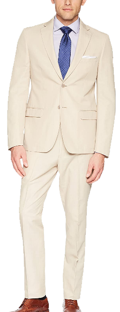 Slim-fit tan suit by Calvin Klein