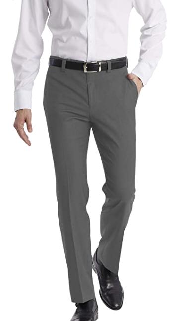 modern-fit medium grey dress slacks by Calvin Klein