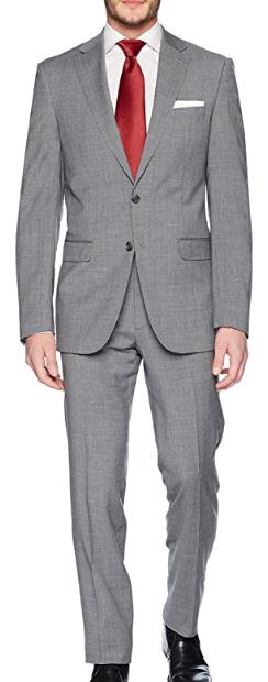 Slim fit medium grey suit by Calvin Klein