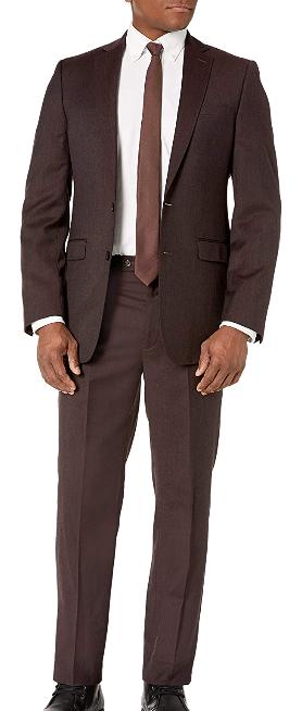 Slim-fit wool wine brown suit by Calvin Klein