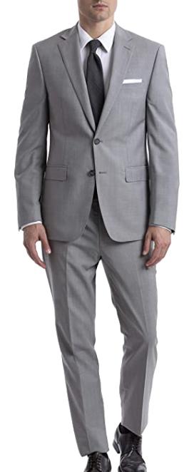 Stretch slim fit light grey suit by Calvin Klein