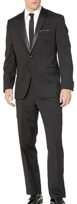 Modern-fit black wool tuxedo by Calvin Klein