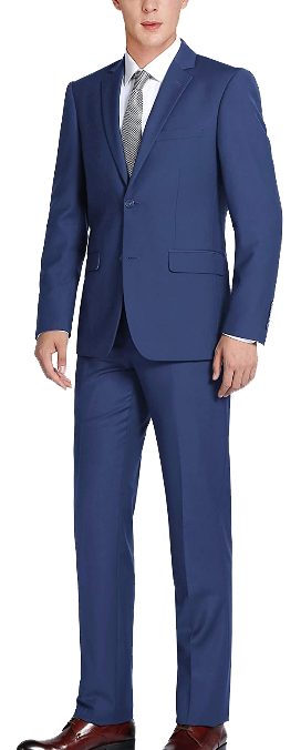 Two-piece classic fit blue suit by CHAMA