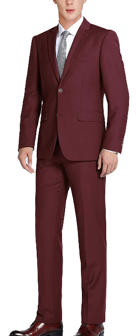 Two-piece classic fit burgundy suit by CHAMA