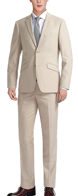 Tan slim-fit suit by Chama