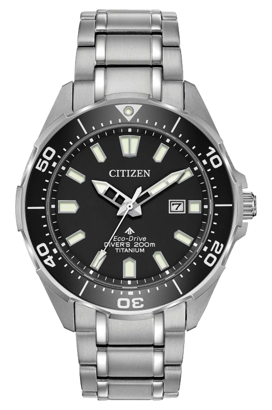 Citizen Eco Drive with black case and stainless steel watchband