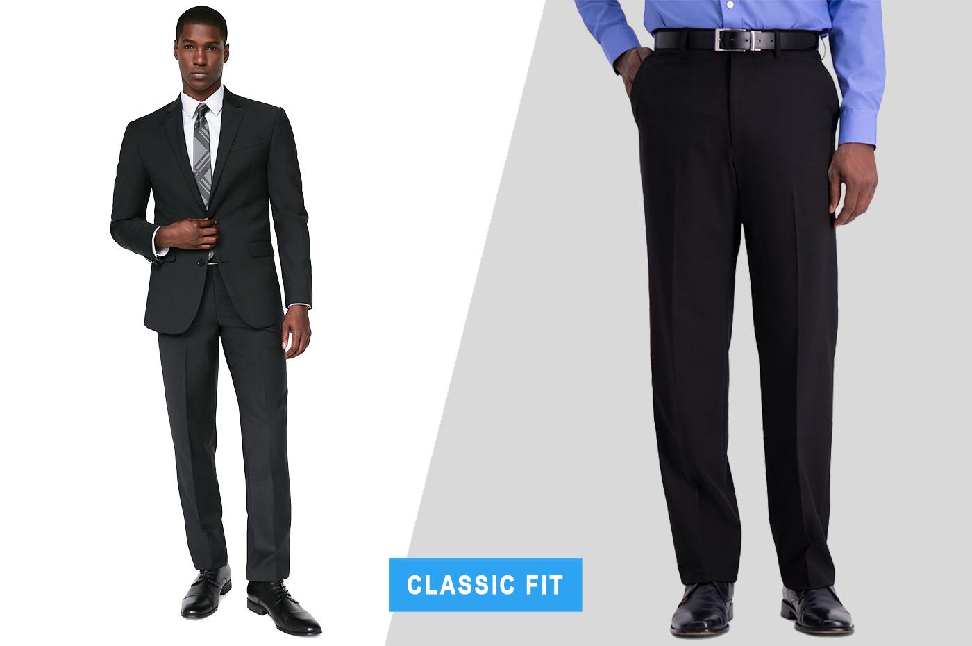 classic fit dress pants with suit