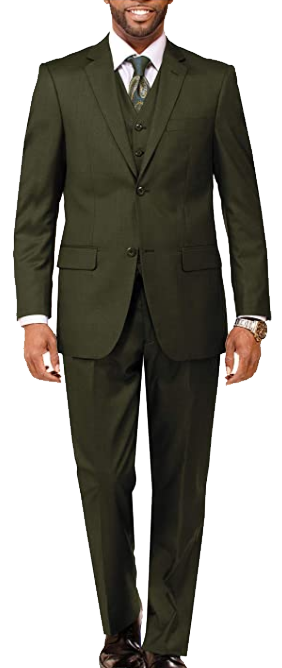 three-piece olive green suit by Danny Colby