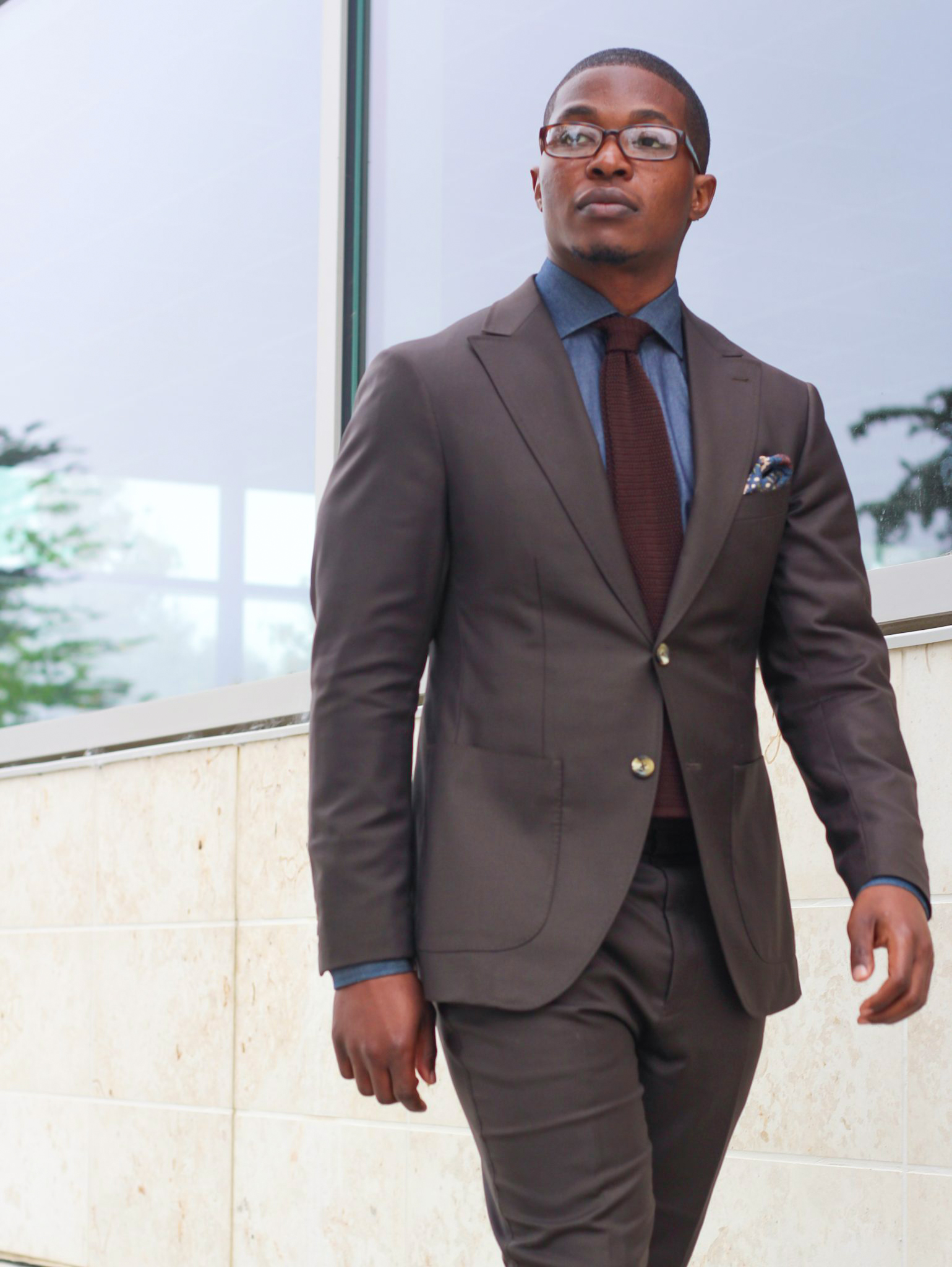 dark brown suit, navy shirt and burgundy tie color combination