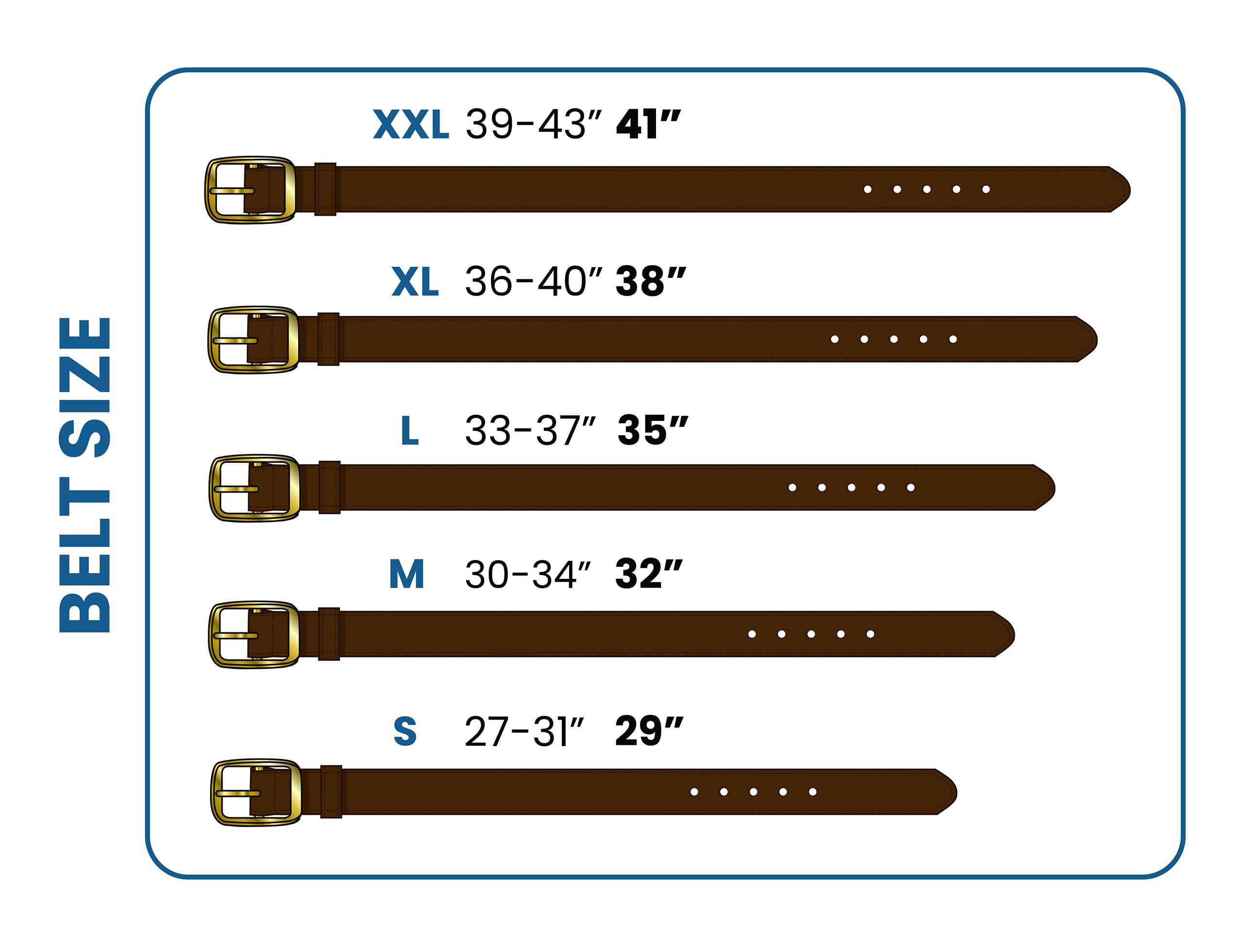 different belt sizes