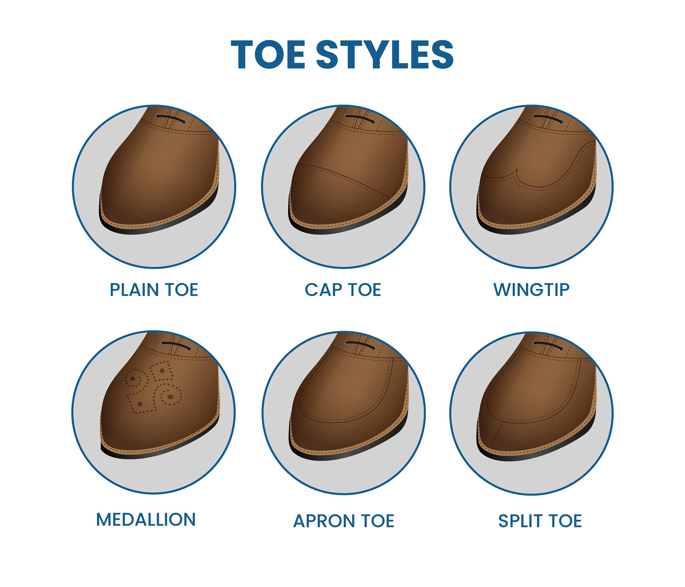 different dress shoe toe styles
