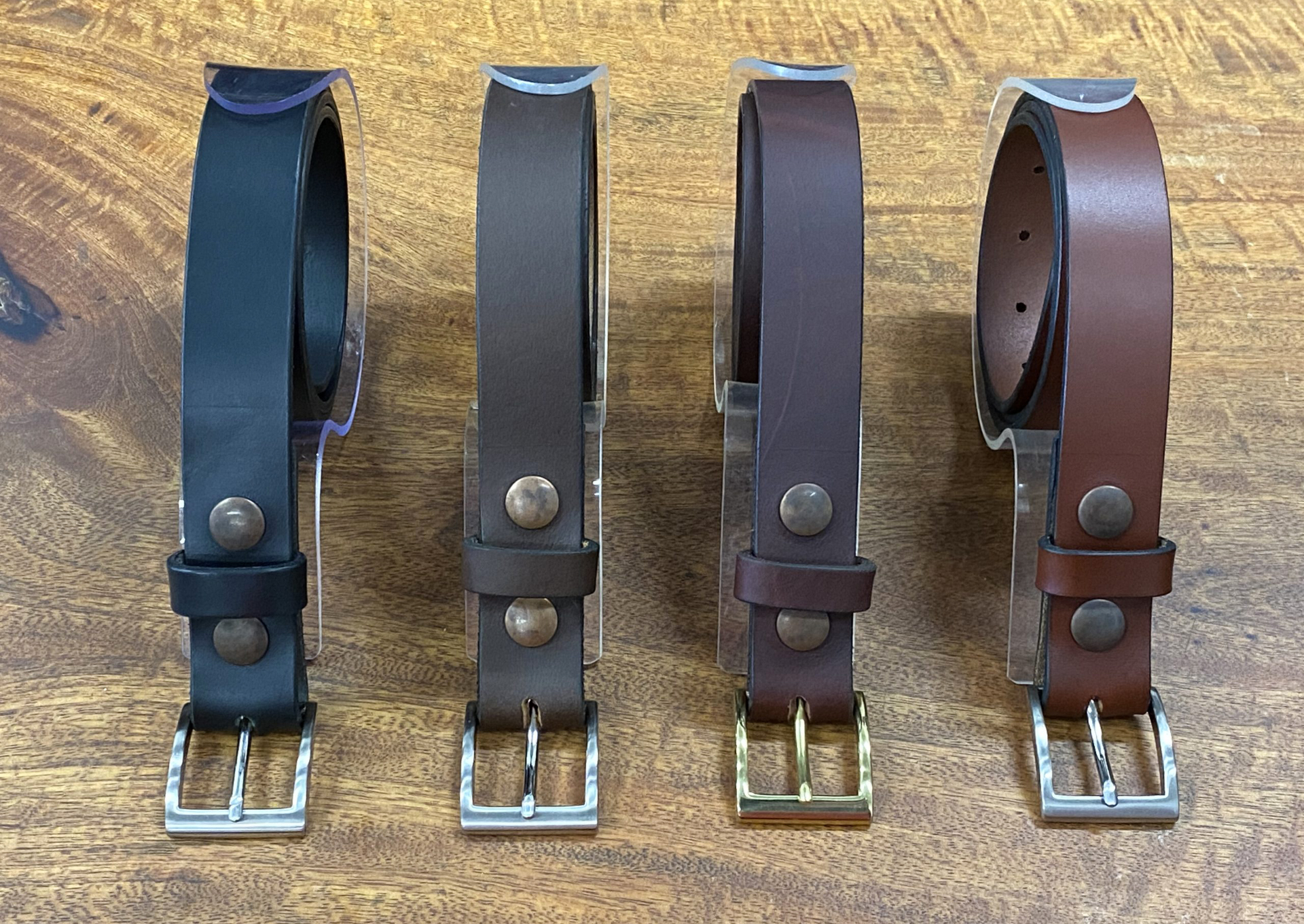 different leather color belts