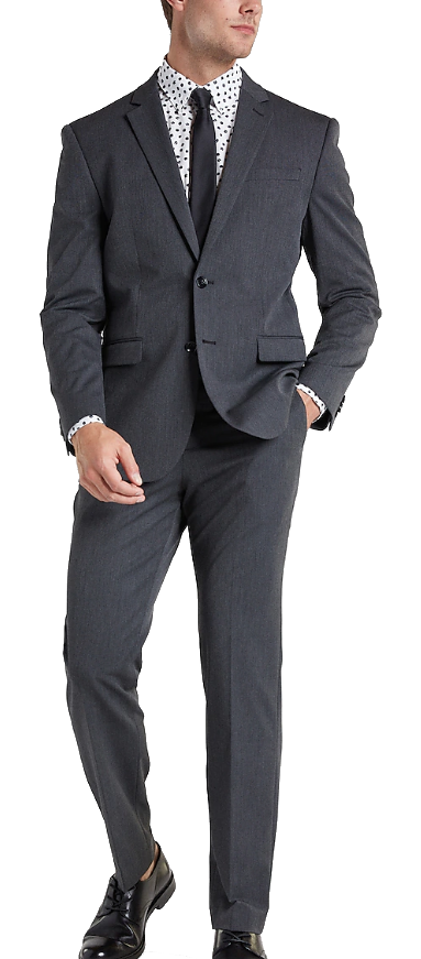Classic solid charcoal suit by Express