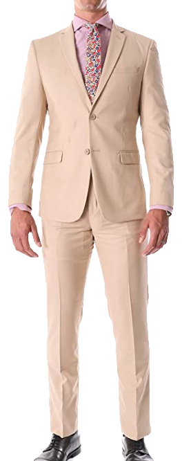 Slim-fit tan suit by Ferrecci