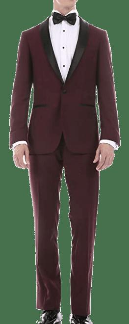 Slim-fit burgundy tuxedo with shawl lapel by Ferrecci