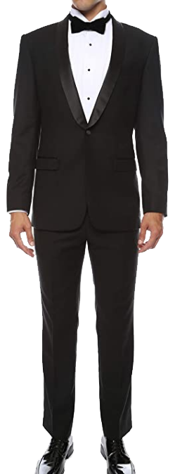 Slim fit black affordable tuxedo by Ferrecci
