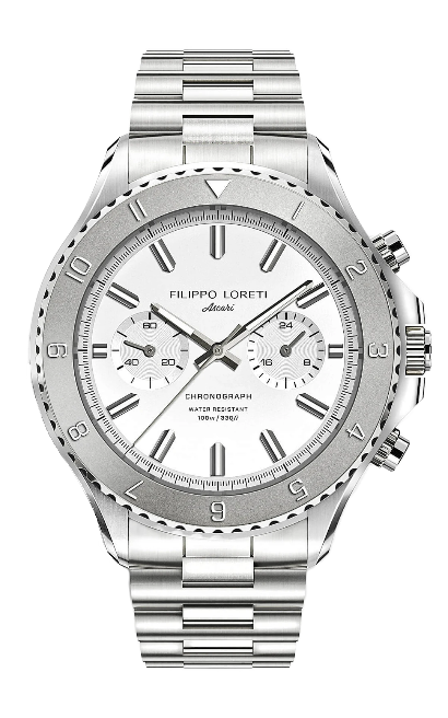 Stainless steel watch with white case by Filippo Loreti