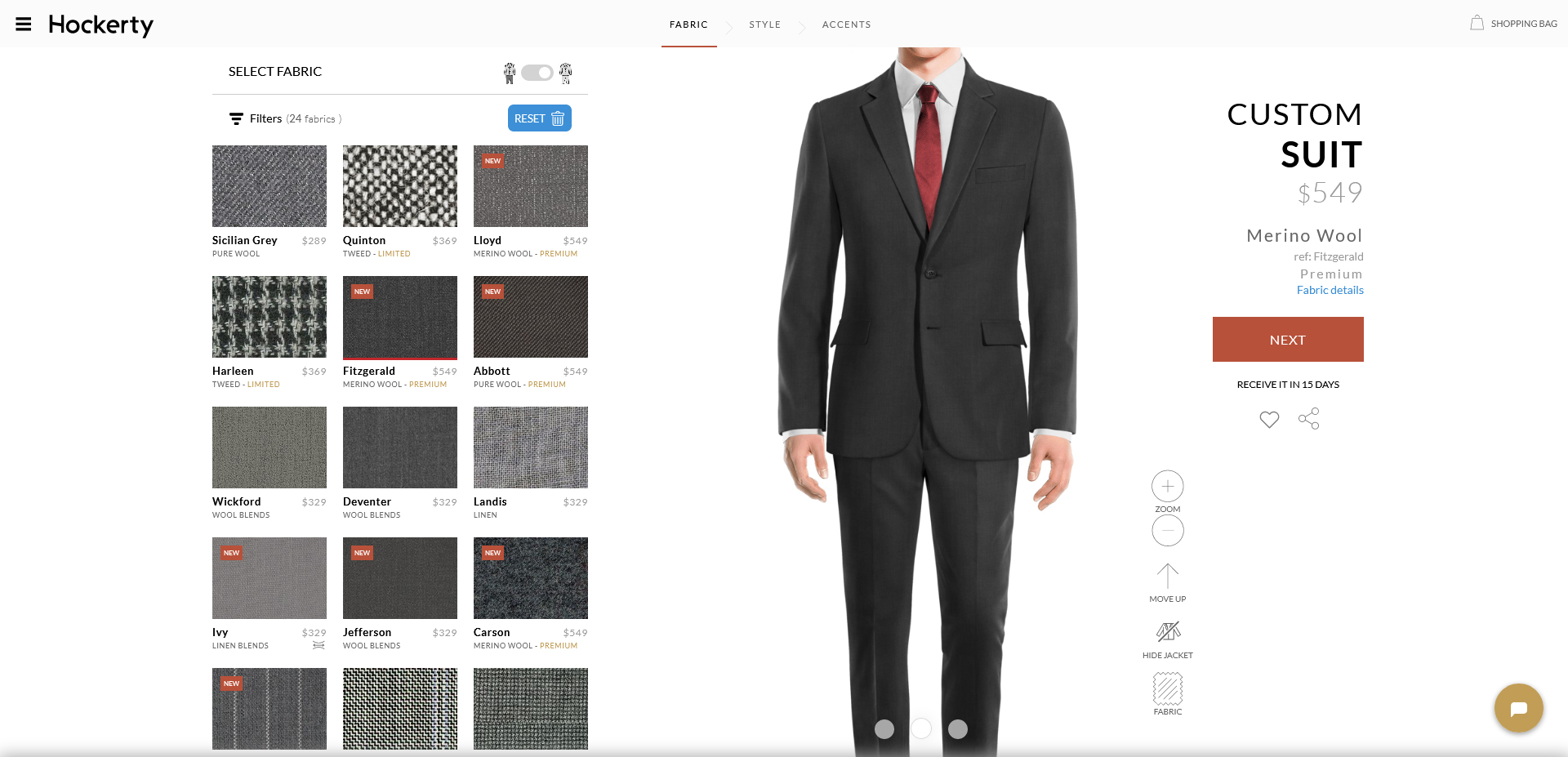 fitzgerald: charcoal grey suit fabric
