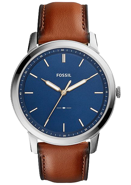 Fossil the Minimalist with brown leather strap