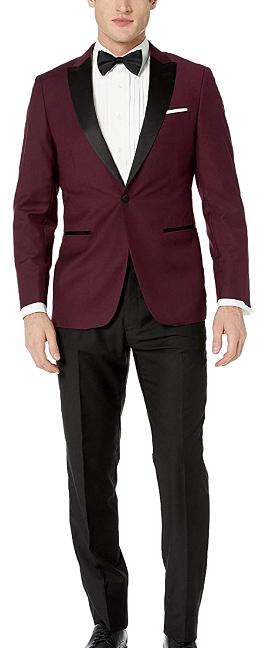 Modern-fit, peak lapel burgundy tuxedo by Giorgio Fiorelli