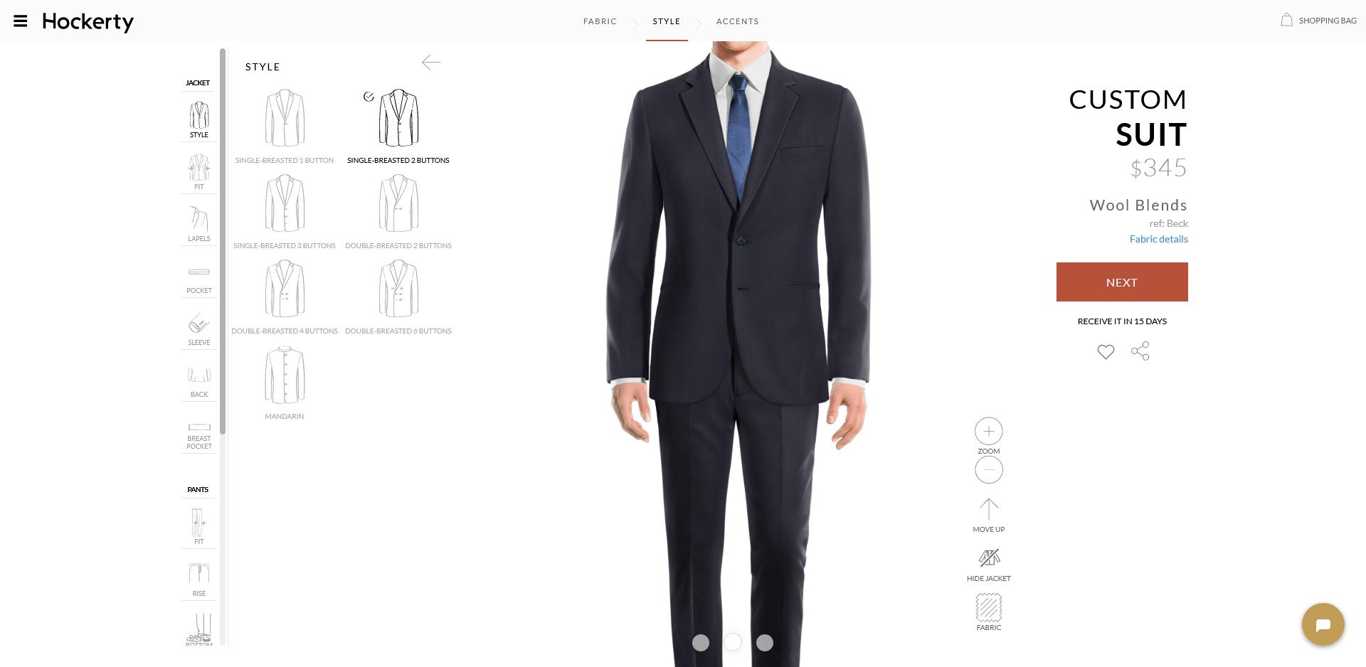 Hockerty suits jacket style options