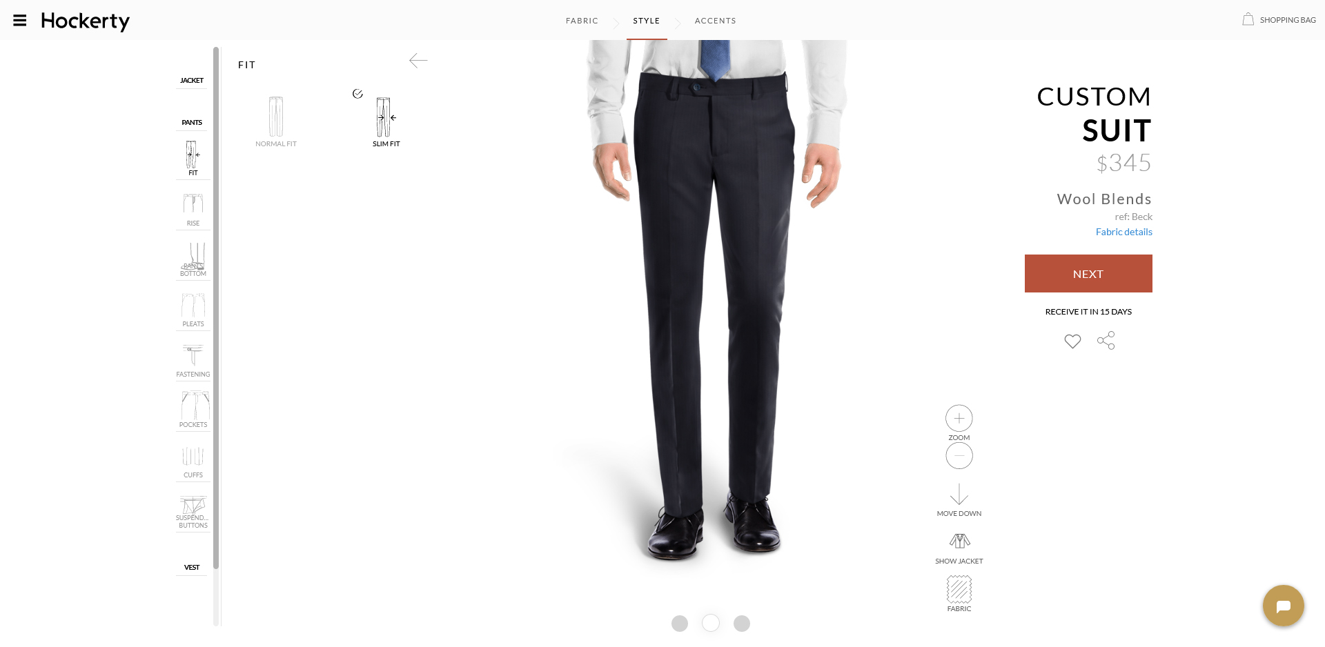 Hockerty suit pants style options