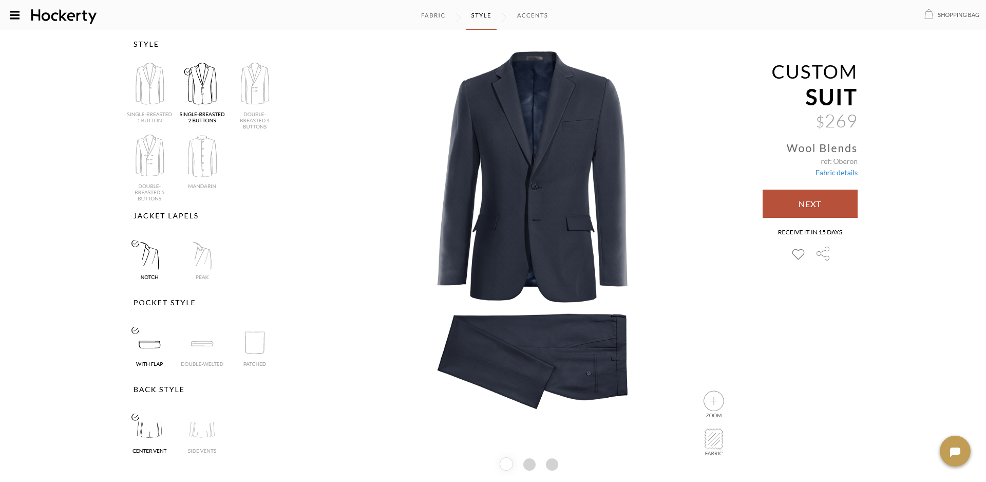 Hockerty made-to-measure suit style & design options