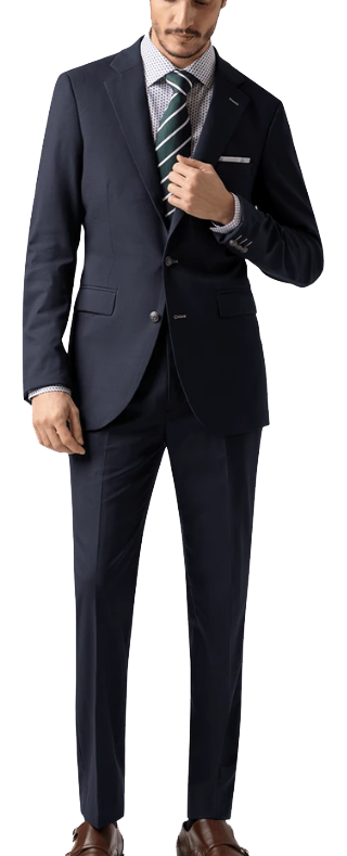 two-piece merino wool navy suit by Hockerty