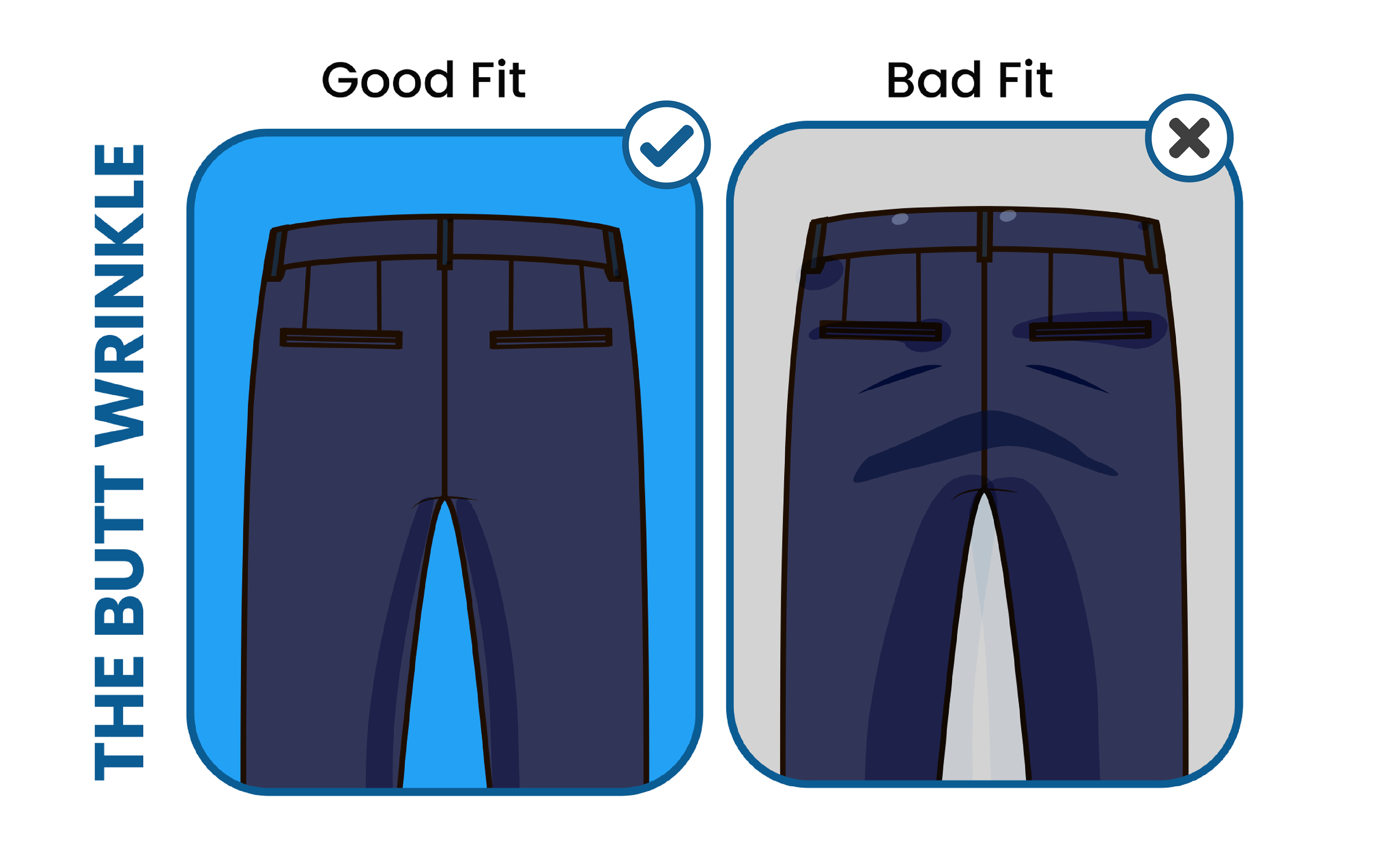 avoid the suit pants' butt wrinkle