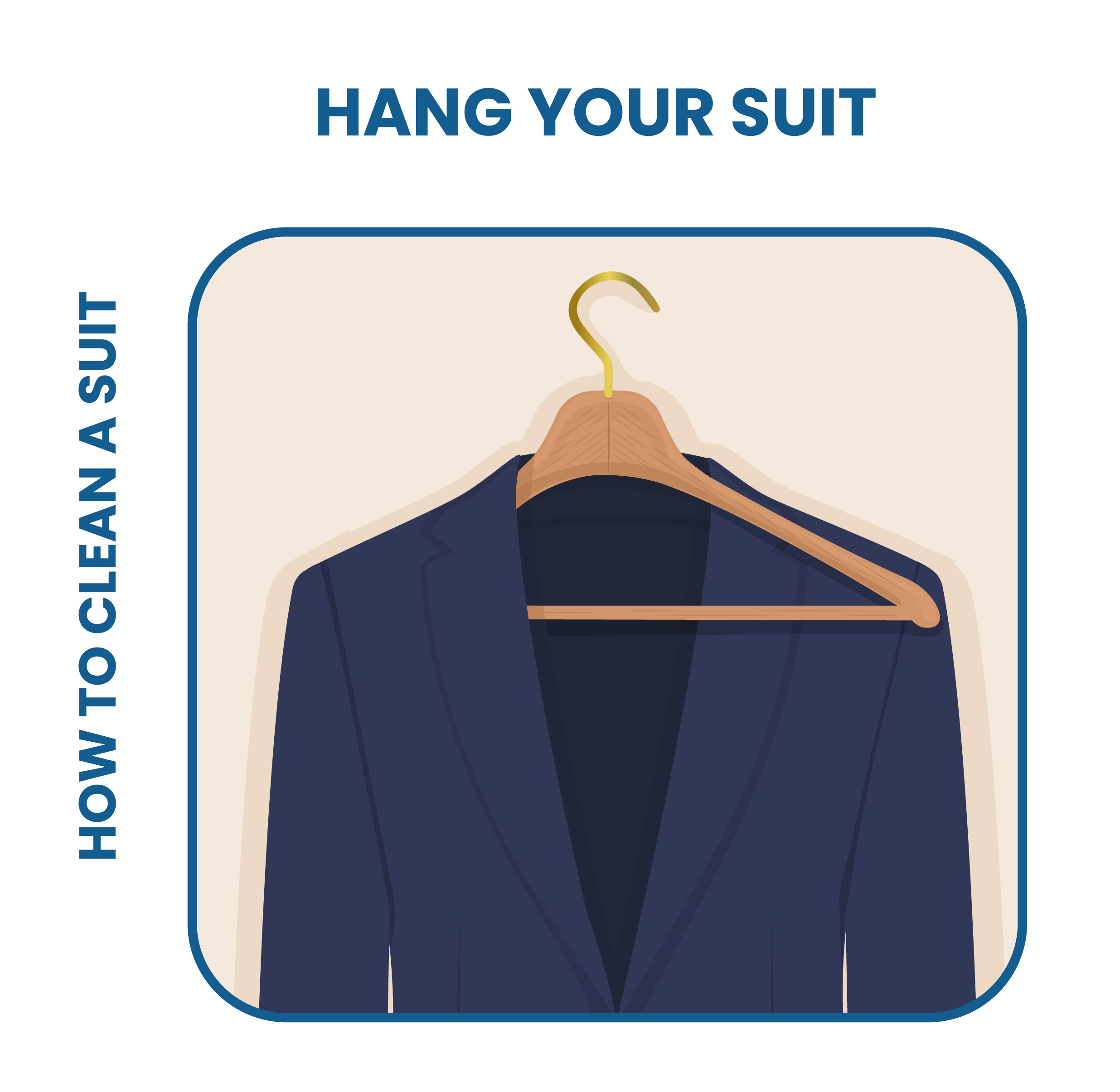 hang your suit properly by using a strong wooden hanger