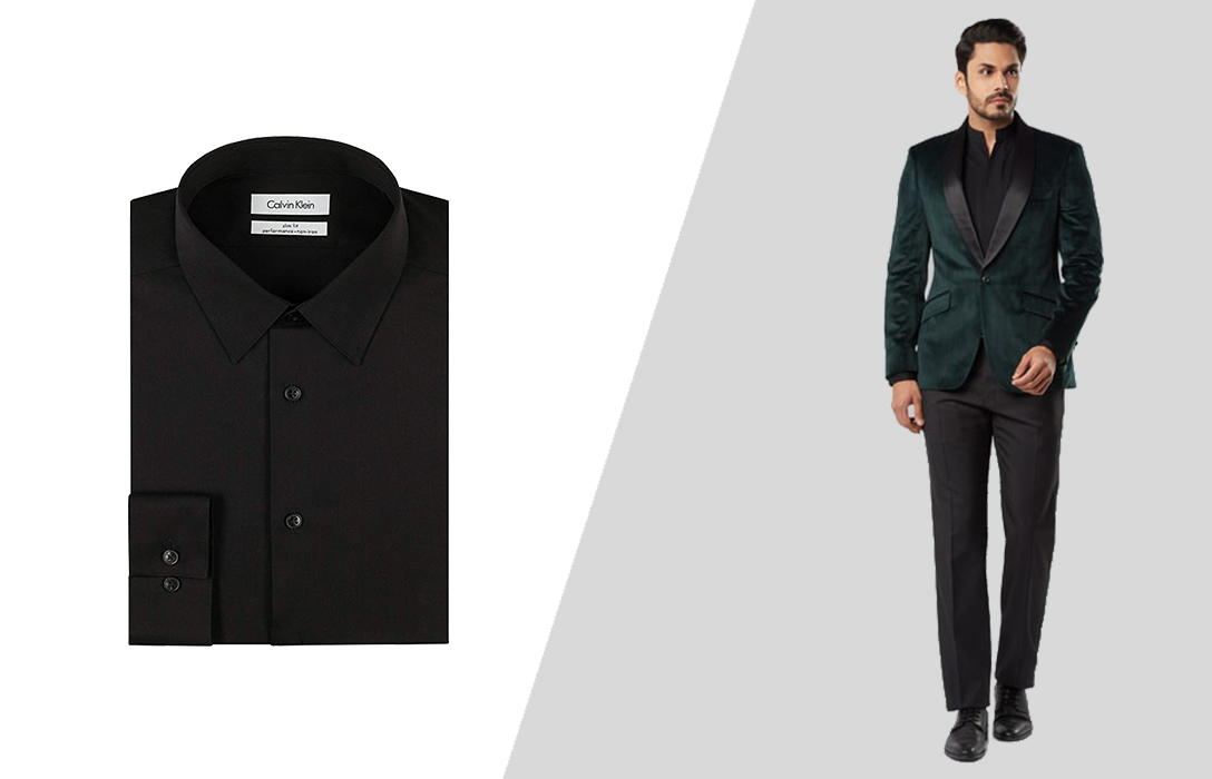 how to match a green suit and a black dress shirt