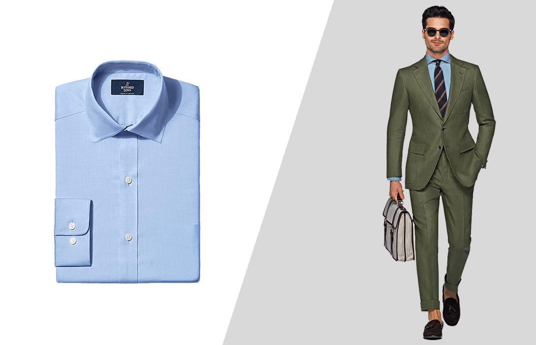 how to match a green suit and a blue dress shirt