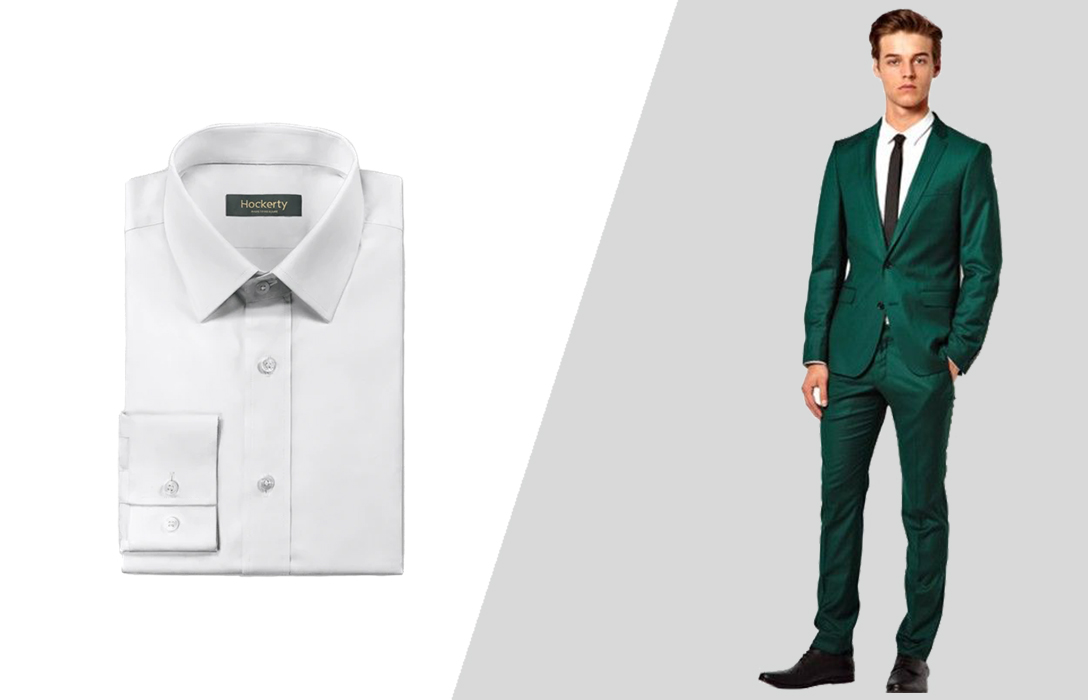 how to match a green suit and a white dress shirt