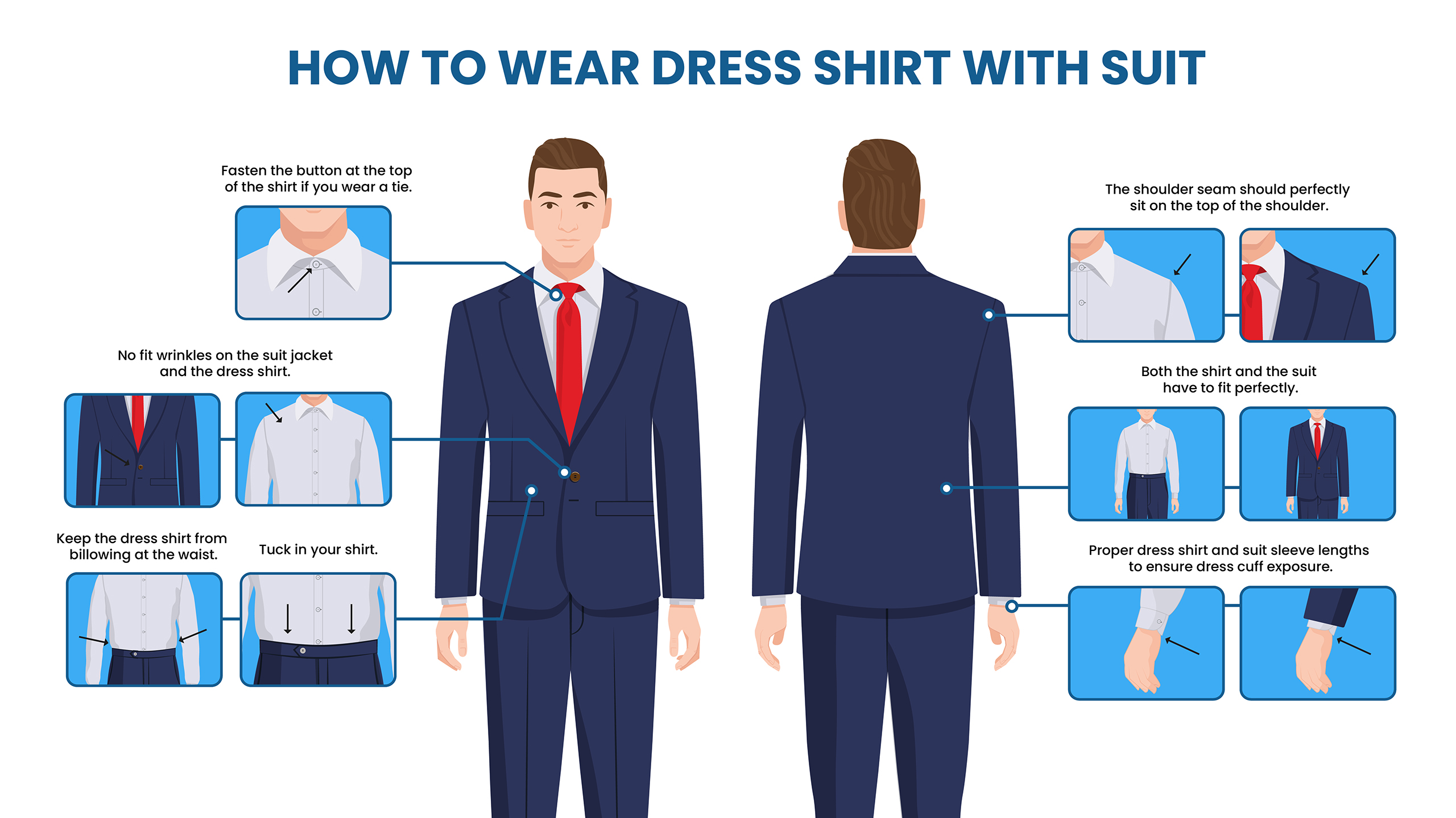 how to wear a suit with a dress shirt
