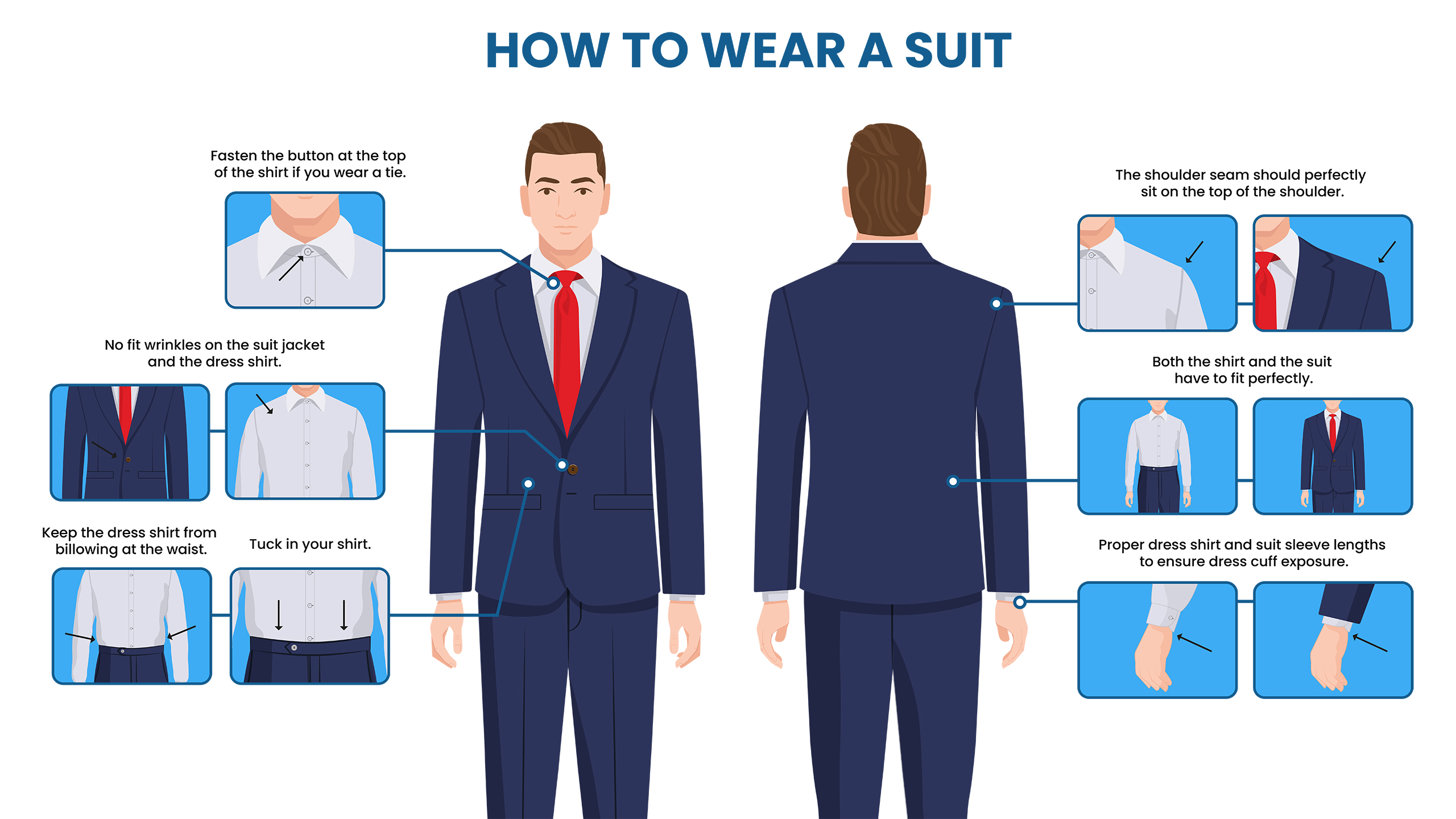 how to wear a suit with dress shirt and tie