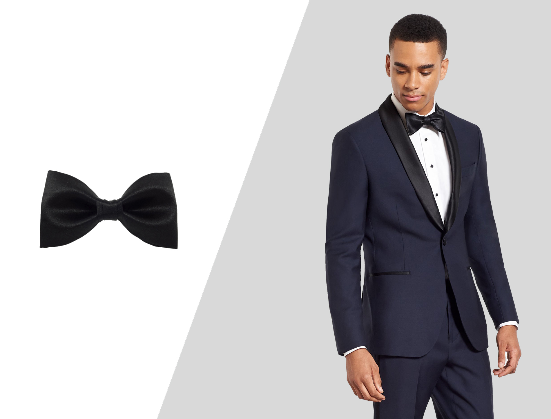 how to wear blue tuxedo with black bow tie