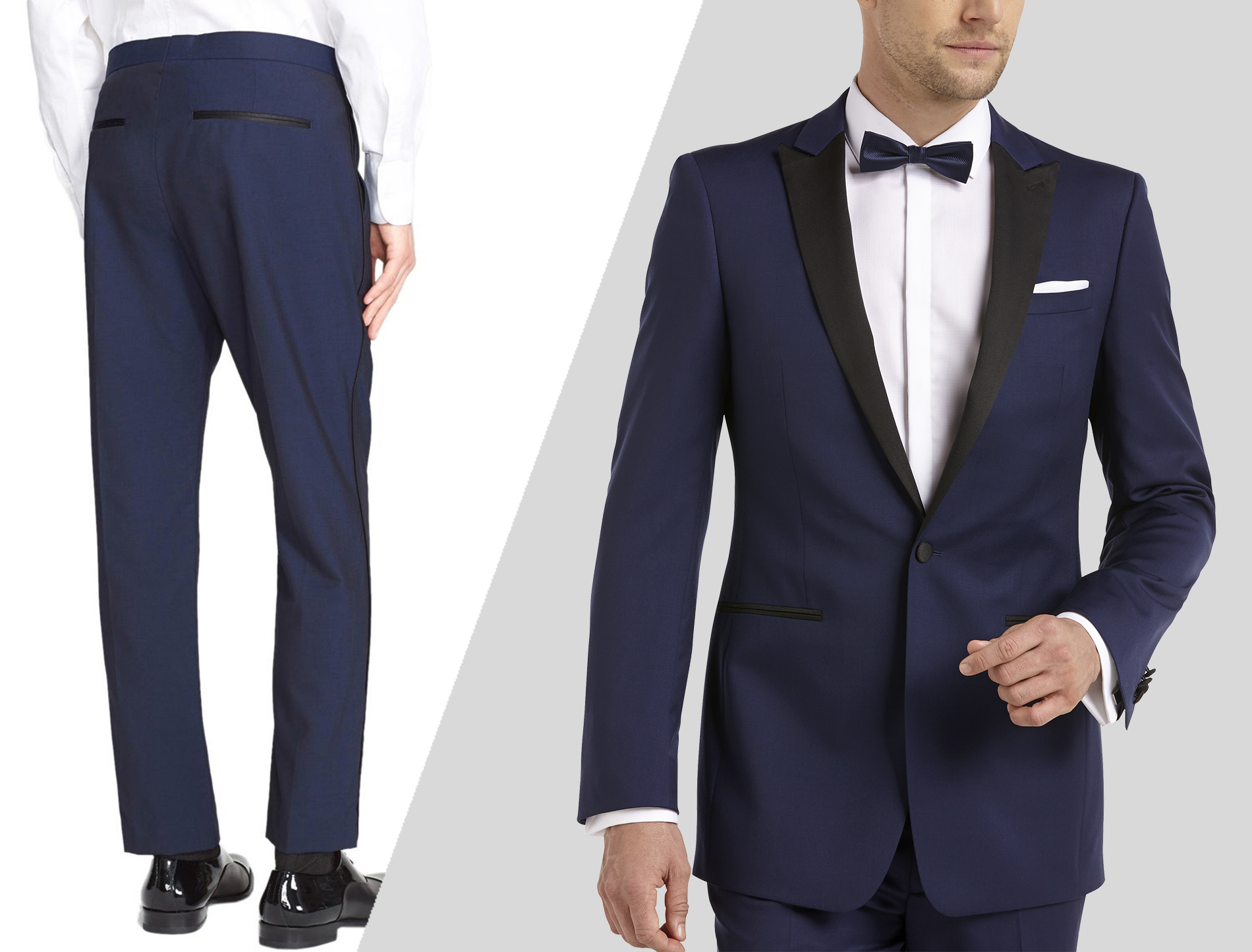 how to wear blue tuxedo