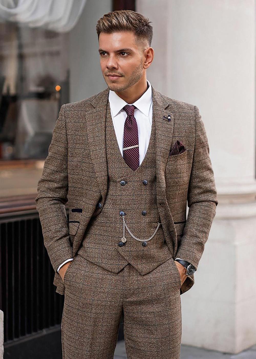 how to wear brown tweed suit