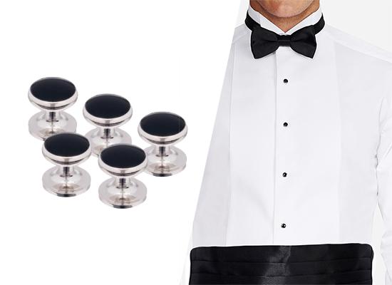 button studs on tuxedo shirt