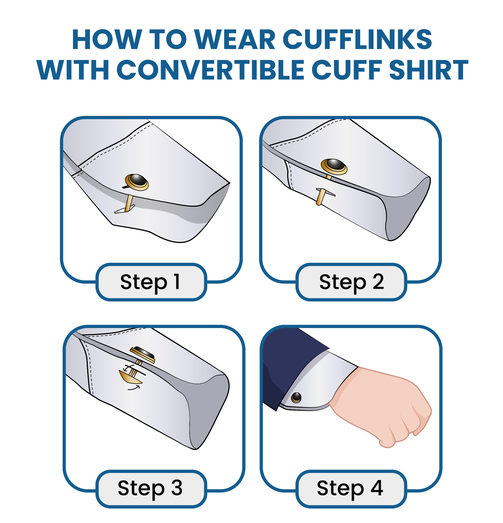How to wear cufflinks with a convertible cuff shirt