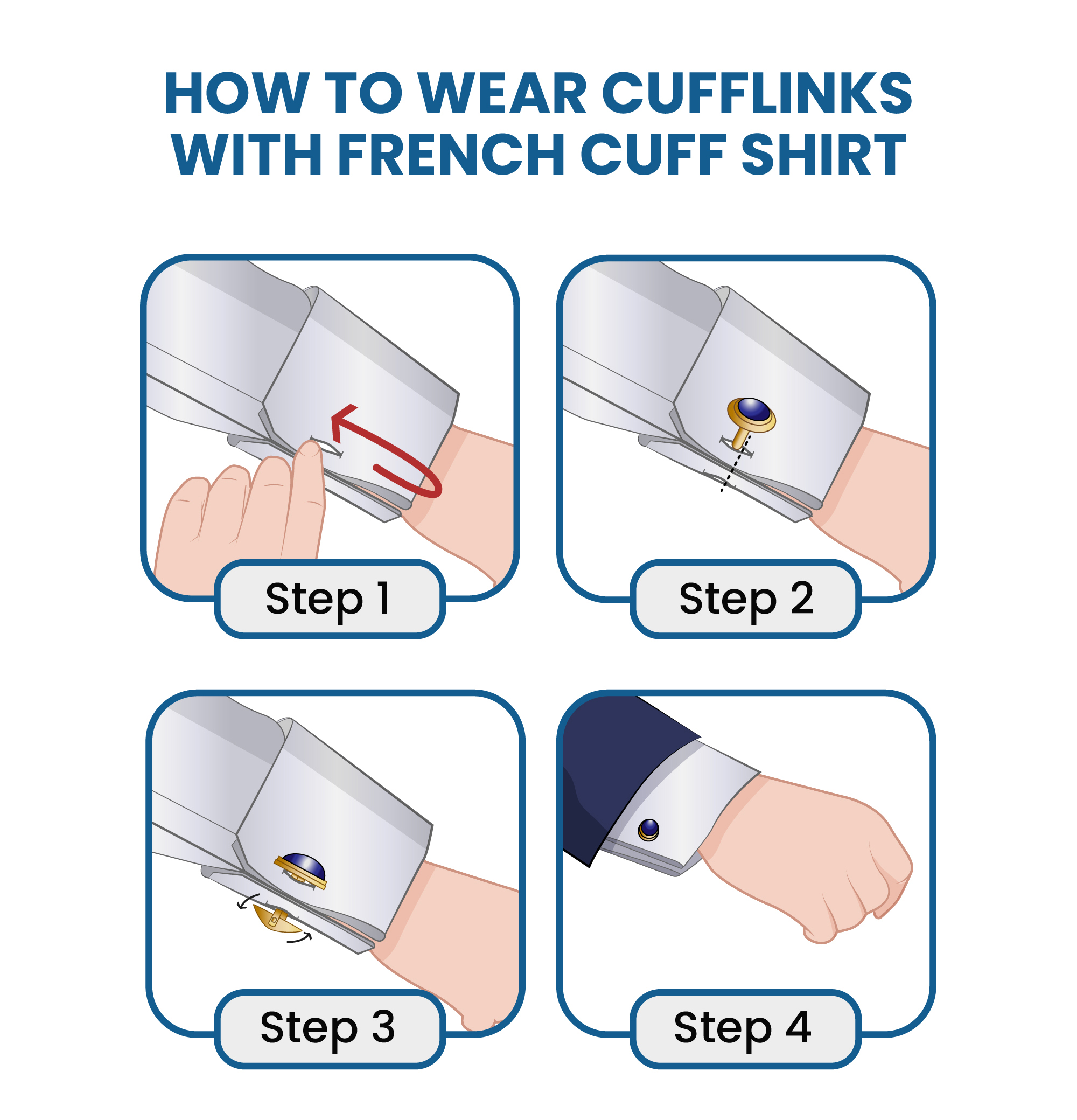 How to wear cufflinks with a French cuff shirt