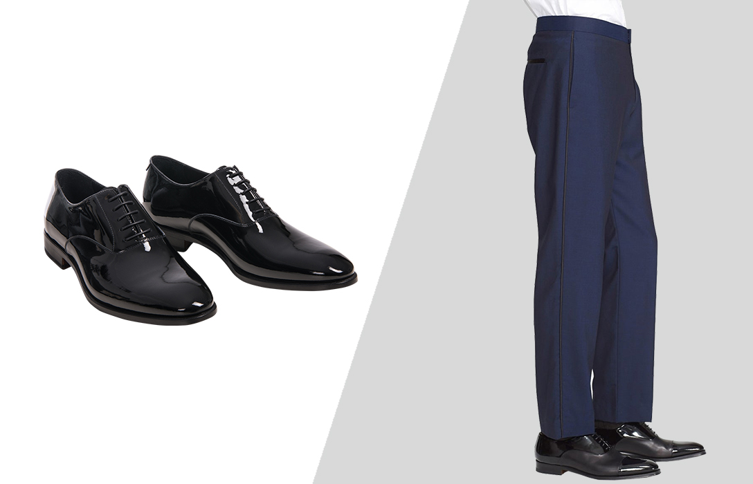 how to wear black formal oxford shoes with blue tuxedo