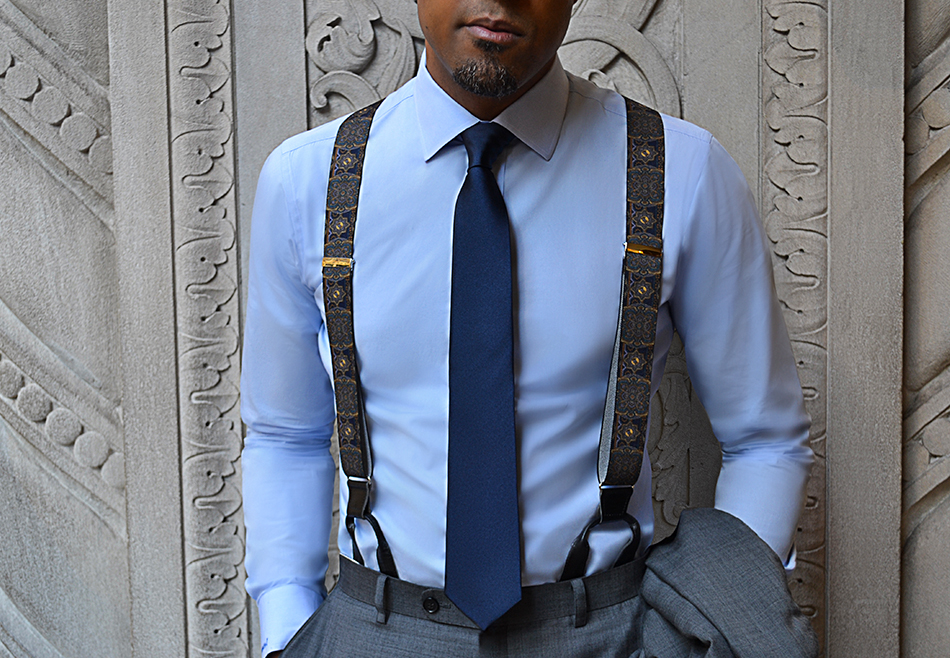how to wear patterned suspenders with solid blue shirt