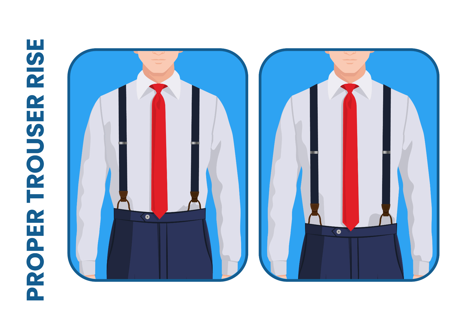 how to wear suspenders: proper trouser rise