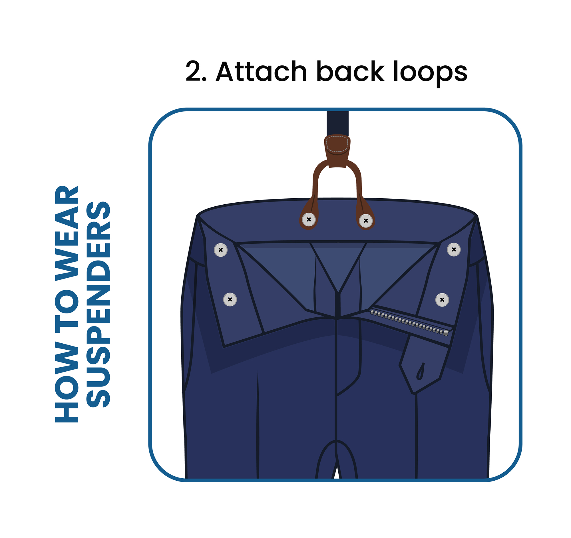 How to put on suspenders step 2: Attach the button tab on the back loops